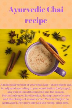 An Ayurvedic inspired chai tea recipe for Autumn and Winter or to balance Vata -. - An Ayurvedic inspired chai tea recipe for Autumn and Winter or to balance Vata – it also combats - Aryuvedic Recipes, Indian Food Recipes, Healthy Recipes, Ayurvedic Tea, Ayurvedic Healing, Ayurveda Vata, Chai Tea Recipe, Smoothies, Healthy Drinks