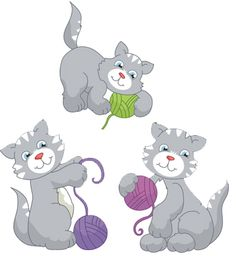 Free embroidery designs  cats with yarn