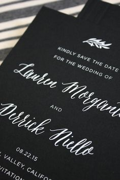 The Best Save the Dates of 2015: Modern Black and White Foil Save the Dates by Vellum & Vogue / Oh So Beautiful Paper