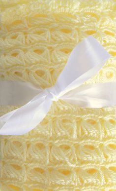 Butter yellow crocheted blanket