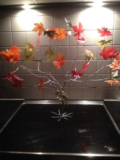 An autumn tree made of steel wire