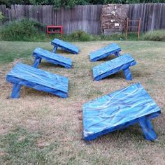 Here are some quintuple steps I made for the kids in the backyard since they love American Ninja Warrior. These are made with pallets, flat scrap wood for the tops (you could use plywood and even have Home Depot or Lowes cut them to size), and 2'x4's / 2'x6's for the legs (I used scrap wood, so some legs are 4 and others are 6). Let me know if you have any questions.