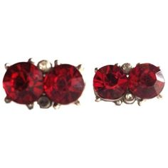 1930s Rich Red Rhinestone Clip Earrings ($110) ❤ liked on Polyvore featuring jewelry, earrings, long earrings, rhinestone stud earrings, rhinestone jewelry, long clip earrings and clear crystal earrings