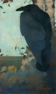 "dayintonight: ""Jan Mankes Big Owl, Raven on a Birch Tree 1913 """