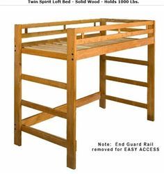 Twin Size Spirit Junior Loft Bed Frame: Optional Golden Oak Finish