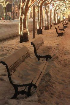 Bank / Gartenbank / Parkbank - Bench in the Park / Garden Bench + Winter