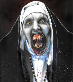 A hand drawn original portrait of Valak the Demon Nun from the movie The Nun from The Conjuring Universe. Over 30 hours of work went into this piece, finished in colour pencil and spray paint background. Horror Movie Characters, Horror Movies, Scary Wallpaper, Horror Drawing, Pastel Artwork, Horror Artwork, Arte Horror, Scary Movies, American Horror