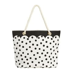 PB Teen The Emily & Meritt Black/White Dot Rope Beach Tote (2,310 DOP) ❤ liked on Polyvore featuring bags, handbags, tote bags, tote handbags, beach bag, black and white purse, tote purses and beach tote