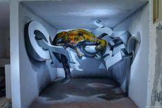 3D graffiti art, by Sérgio Odeith The portuguese artist that makes graffiti jump off the wall