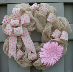 Hey, I found this really awesome Etsy listing at https://www.etsy.com/listing/184512192/burlap-mesh-wreath-with-large-pink-daisy