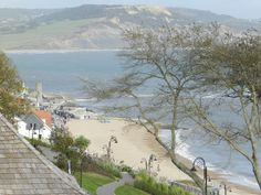 Looking down on Lyme Regis Beach with Golden Cap in the background