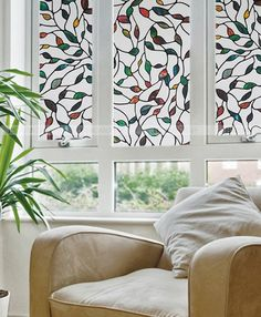 Leafy Adhesive Stained Glass Window Vinyl Film  X Ft Privacy - Window decals for home privacy