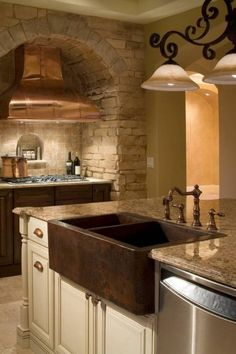 Kitchen , Fine Looking Copper Kitchen Sink : Double Bowl Hammered  Copper Kitchen Sink And Faucet And Granite Countertop