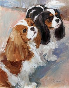 """Waiting, Watching and Wagging"" canvas giclee print by Lindsey Bittner Graham giclee on canvas ~ 10 x 8 Cavalier King Charles Spaniels Blenheim and Tri Cavalier King Charles Dog, King Charles Spaniel, King Spaniel, Dog Portraits, Animal Paintings, Dog Art, Dog Pictures, Pet Birds, Illustrations"