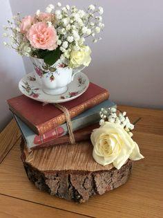 Vintage wedding rustic centrepiece hire , based in Cambridgeshire ...tree slice…