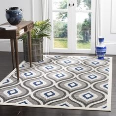 Shop for Safavieh Cottage Grey/ Royal Rug (6' 7 x 9' 6). Get free shipping at Overstock.com - Your Online Home Decor Outlet Store! Get 5% in rewards with Club O! - 18644695