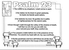 Psalm Free 23 Printable Bible resources Psalm 23 and Scriptures