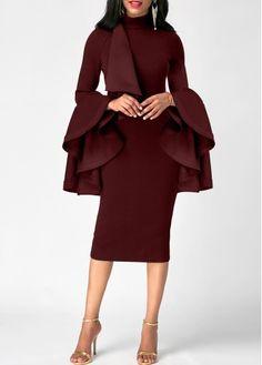 Flare Sleeve Mock Neck Burgundy Sheath Dress | liligal.com - USD $31.58