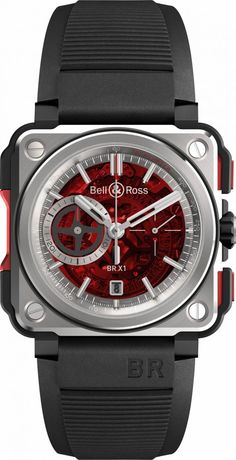 Bell & Ross BR-X1 Red BRX1-CE-TI-RED.Always ahead of its time, Bell & Ross continues to innovate with the launch of the BR-X1, a high-tech chronograph with a sporty design, which is as robust as it is sophisticated. Revolutionary in its design, the BR-X1 is the first watch of a new collection from Bell & Ross and the beginning of a whole new chapter in the saga of the brand. An extreme version of the BR-01, whose iconic square shape is directly inspired by aeronautical flight instruments, th