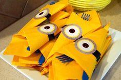 Despicable Me Birthday Party - yellow napkins w/minion eyes, wrapped around cutlery. Minion Party Theme, Despicable Me Party, Minion Birthday, Minion Movie, 2nd Birthday Parties, 4th Birthday, Birthday Ideas, Minion Craft, Yellow Minion