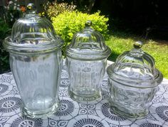 Vintage Apothecary Canister Set Heavy Clear Glass by GladStoneatHome on Etsy