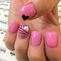 Hot Pink & Zebra Nail Design with Hearts Accent--more romantic heart nail designs