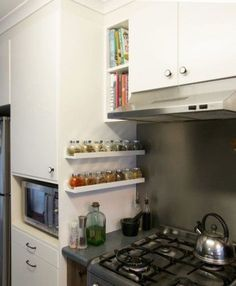 LOVE this for a spice rack! This is an ikea shelf, but the important thing here is the Placement of the spice rack on the cabinet to the side of the stove Kitchen Ikea, Small Kitchen Storage, New Kitchen, Storage Spaces, Kitchen Dining, Kitchen Decor, Kitchen Cabinets, Kitchen Rack, Small House Storage Ideas