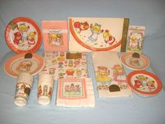Joan Walsh Anglund Vintage Birthday Party Lot Plates Cups Invitations Hats | eBay