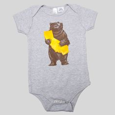 90% Cotton, 10% Polyester Onesie in Athletic Gray The two symbols of the Golden State About the Artist: Munk One is a contemporary American illustrator, poster artist, political cartoonist, and fine a