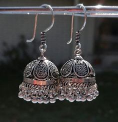 Earring Jhumka.  Filigree work silver jhumka.