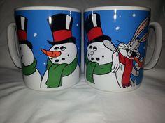 Bugs Bunny Snowman Warner Brothers 2 Extra Large Coffee Hot Chocolate Mugs Cups #Sakura