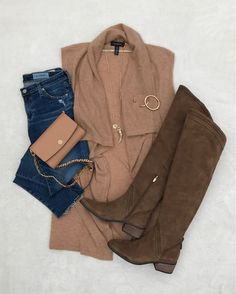 Halogen cashmere vest, over the knee boots, fall flat lay, fall style