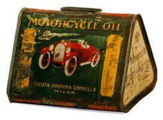 Old motorcycle oil can