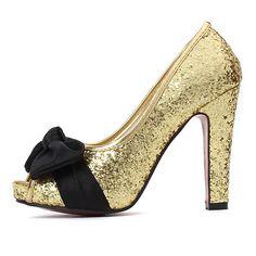 Glitter Bow Chunky Heels Peep Toe Platforms