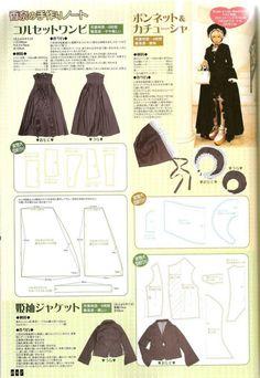 (662×960) Lolita Sewing Pattern Strapless Dress, Bonnet, Jacket