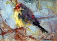 "huariqueje: ""Finch ( Blue Sky ) - Carolyn Anderson Impressionism Contemporary Art """