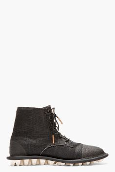 ADIDAS BY TOM DIXON BLACK CANVAS LACE UP BOOTS
