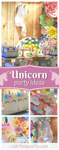 Take a look at this amazing Unicorn & Rainbows birthday party. The backdrop is stunning!!! See more party ideas and share yours at CatchMyParty.com
