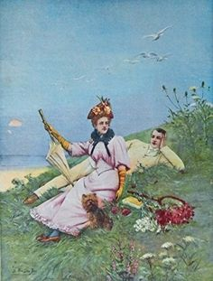 S  Van Den Bos 1893 Color Illustration  painting  print art   man  woman and dog laying on grass