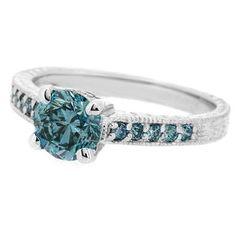 1.27ct Blue Diamond Engagement Ring Antique Design