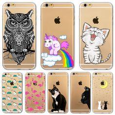 Für Apple iPhone 6 6 s Plus 4 4 S 5 5 S SE 5C 6 Plus fall Weicher TPU Silicon Transparente Dünne Cover Black Cat Eule Kaninchen Tier Fall