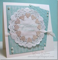 make a tag with doilies... I like this color combo