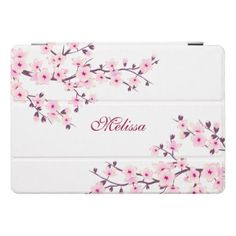 #Cherry Blossoms Pink White Floral Monogram iPad Pro Cover - #flower gifts floral flowers diy