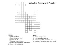 Kids Crossword Puzzles - Print your vehicles crossword puzzle.jpg puzzle at AllKidsNetwork.com