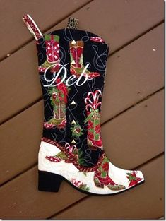 Cowboy Boot Christmas Stocking by Carole D for Nancy Zieman Blog Challenge