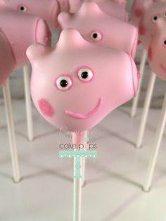 Peppa Pig Cake Pops by Capricciocakepops on Etsy https://www.etsy.com/listing/238601488/peppa-pig-cake-pops