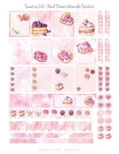 One of three pages - my hand drawn dessert and cake inspired planner sticker printables, just in time for Valentine's day! Designed with the Erin Condren planner in mind, but they also fit into other planners, journals, diaries...