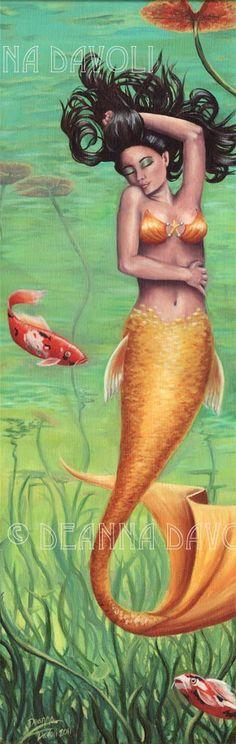 Koi Fish Mermaid Fantasy Art Print Pond Lilypad Mermaid Fairy, Mermaid Gifs, Mermaid Coloring Pages, Mermaid Pictures, Black Mermaid, Mermaids And Mermen, Lily Pond, Merfolk, Fish Art