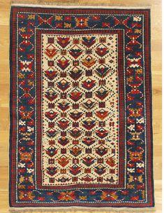 "Shirvan rug from Eastern Caucasus.Age: circa 1870 Size: 4'.8""x3'.5"" (142x104 cm)."