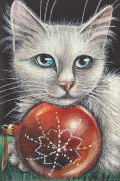 White Cat Christmas Art Painting #Realism